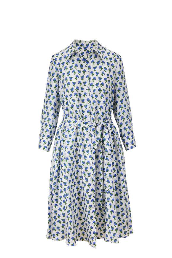 Carolina Herrera White Multi Silk Long Sleeve Shirt Dress