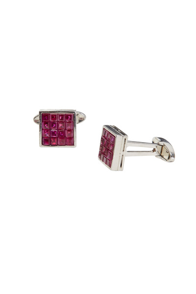 Oscar Heyman - Platinum Square-Cut Ruby Cuff Links