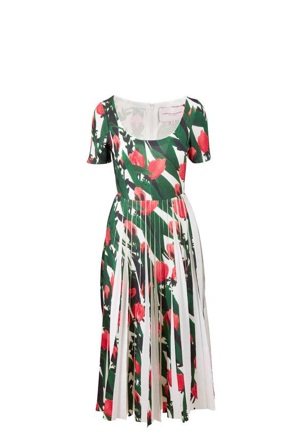 Carolina Herrera White Multi Tulip Print Pleated Knit Dress