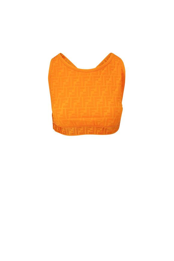 Fendi Orange Embossed FF Crop Top