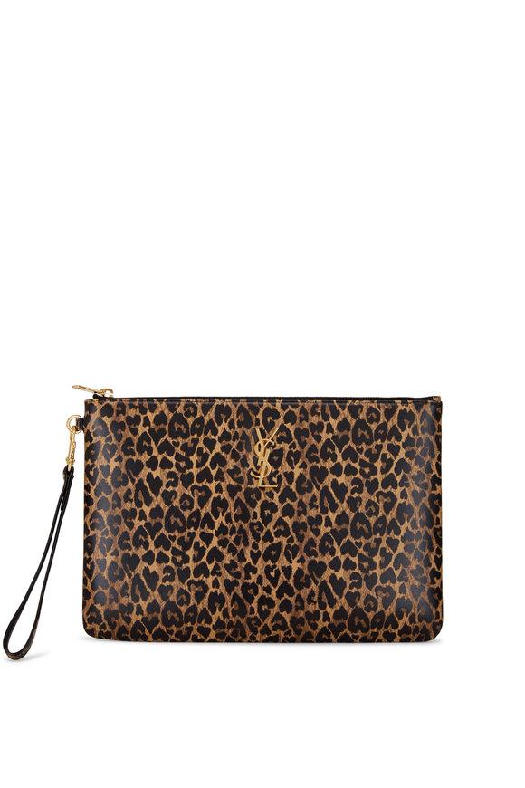 Saint Laurent Leopard Heart Leather iPad Pouch