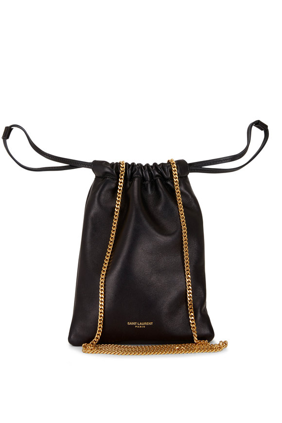 Black Smooth Leather Chain Pouch