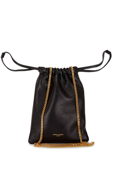 Saint Laurent - Black Smooth Leather Chain Pouch