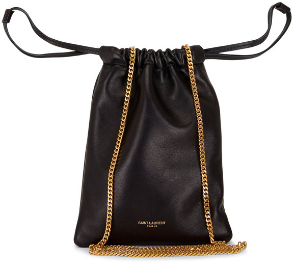 Saint Laurent Black Smooth Leather Chain Pouch