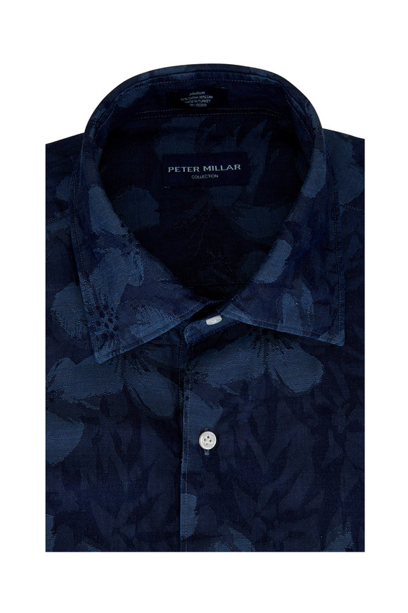 Peter Millar Indigo Floral Jacquard Short Sleeve Sport Shirt