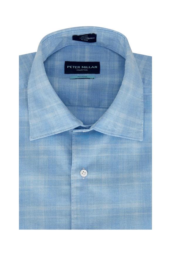 Peter Millar Blue Mist Cascades Plaid Sport Shirt