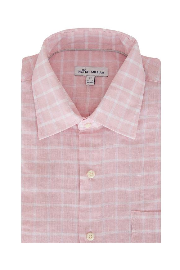 Peter Millar Pink Check Stretch Linen Sport Shirt