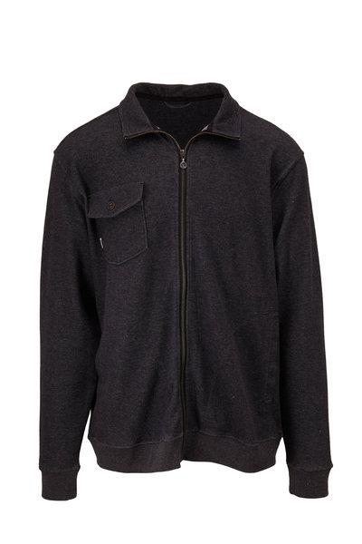 Linksoul - Black Double Knit Front Zip Knit Sweater