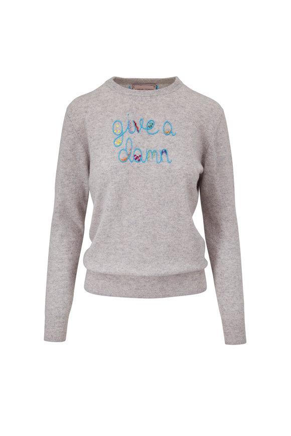 Lingua Franca Smoke & Turquoise Give A Damn Sweater