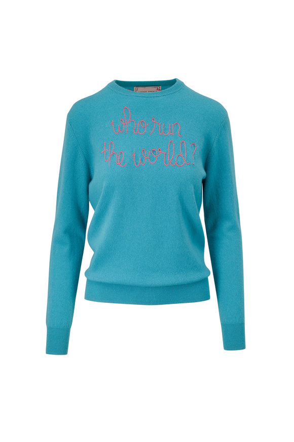 Lingua Franca Teal & Pink Who Run The World Sweater