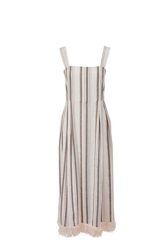Antonelli Lucrezia Striped Fringe Hem Sleeveless Dress