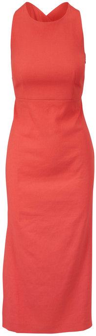 Antonelli Nicla Coral Criss-Cross Back Sleeveless Dress