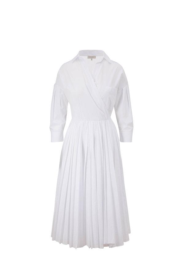 Antonelli Manuela White Cotton Pleated Skirt Dress