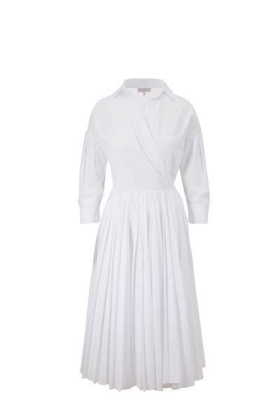 Antonelli - Manuela White Cotton Pleated Skirt Dress