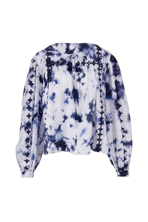 Sachin + Babi Brielle Blue & White Tie Dye Blouse
