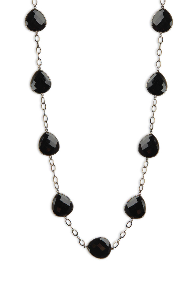 Sterling Silver Black Spinel Chain Necklace
