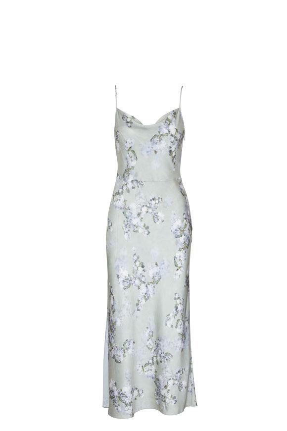 Vince Hazy Blossom Cowl Neck Sleeveless Slip Dress