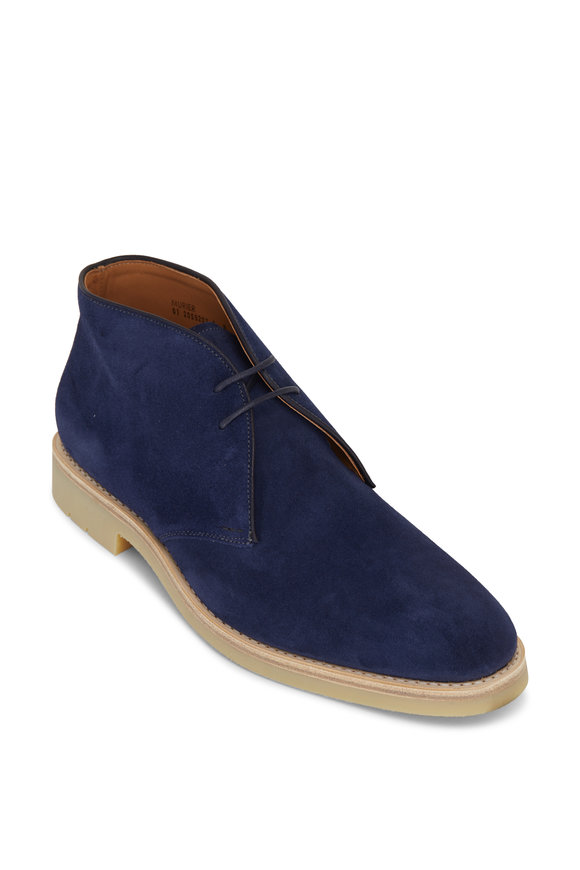 Heschung Murier Velours Blu Suede Lace Up Boot