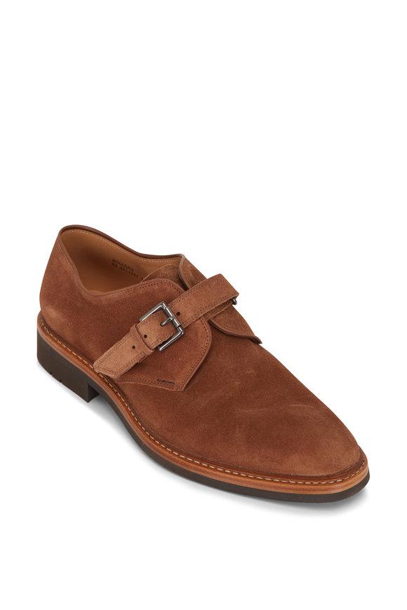 Heschung Bouleau Cacao Suede Single Monk Strap Shoe
