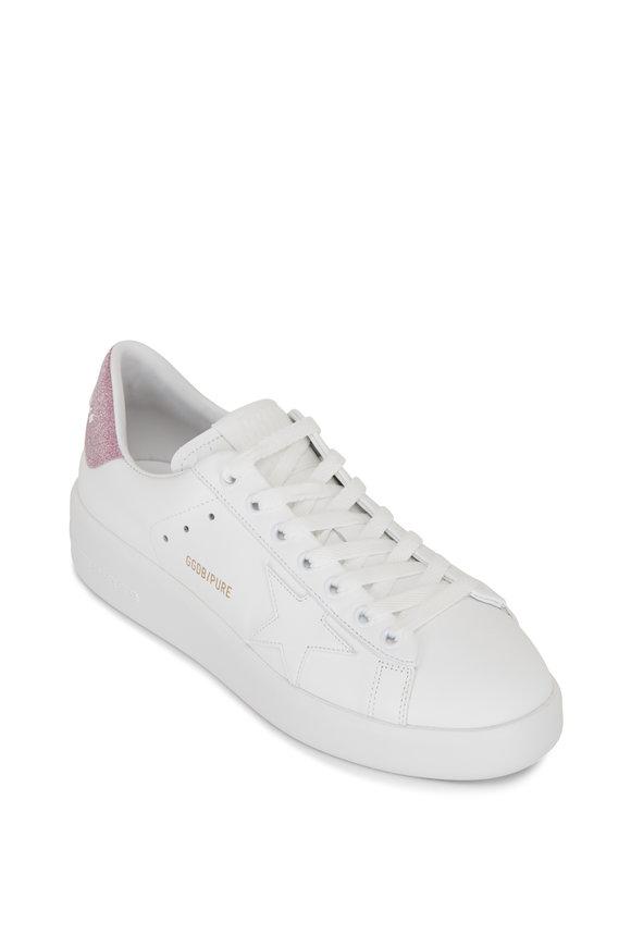 Golden Goose Pure Star White Leather & Glitter Heel Sneaker