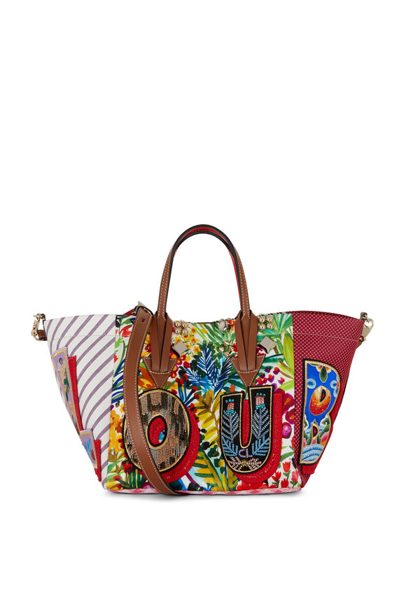 Christian Louboutin Caracaba Multicolor Mixed Print Small Tote