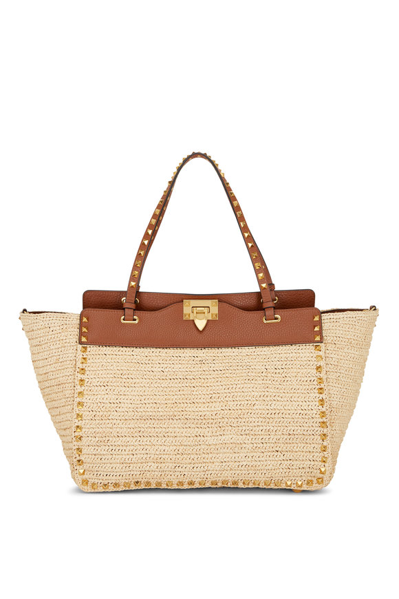 Valentino Garavani Natural & Selleria Raffia Medium Tote