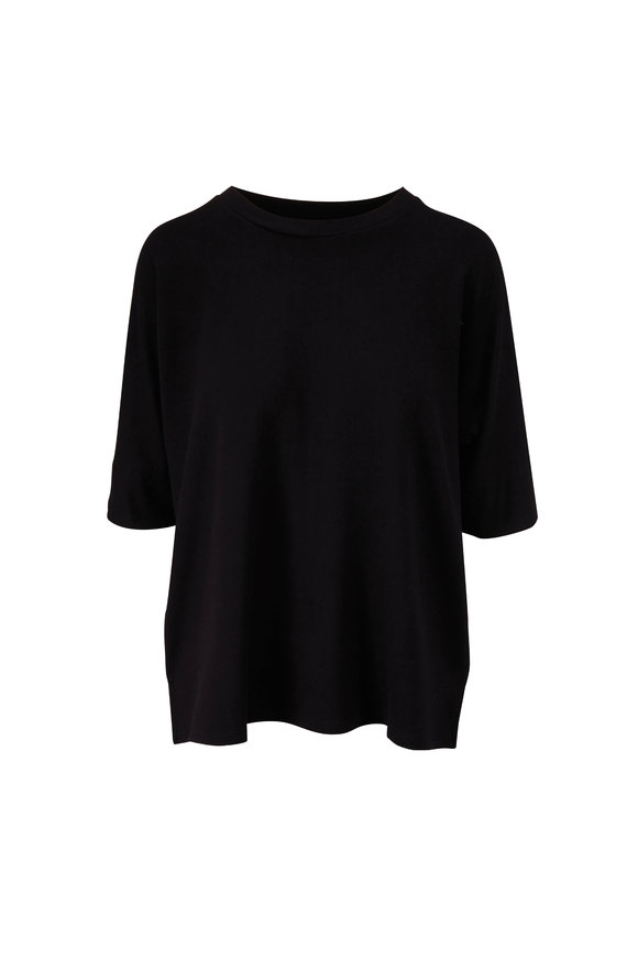 Majestic Black French Touch Relaxed Elbow Sleeve T-Shirt