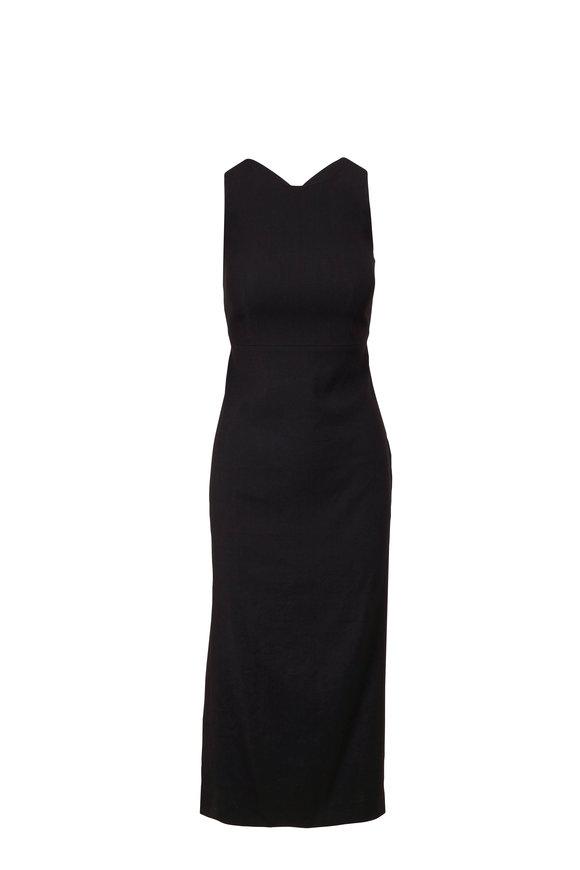 Antonelli Nicla Black Stretch Linen Sleeveless Dress