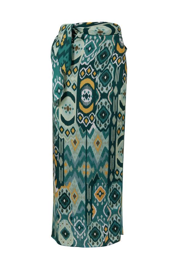 Antonelli Iamira Green Printed Wrap Skirt