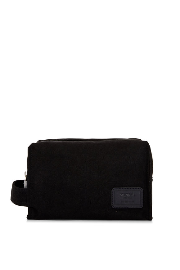 Shinola Bert Black Canvas Double Zip Dopp Kit