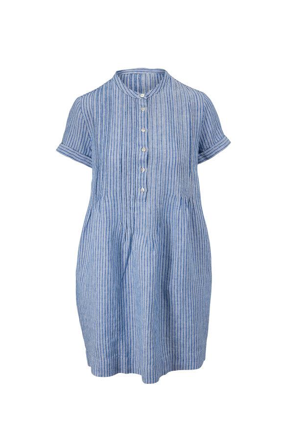 Faherty Brand Gemina Blue Railroad Stripe Short Sleeve Dress