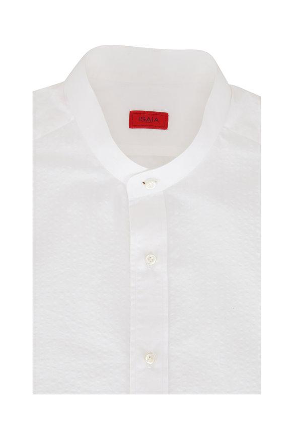 Isaia White Seersucker Banded Collar Sport Shirt