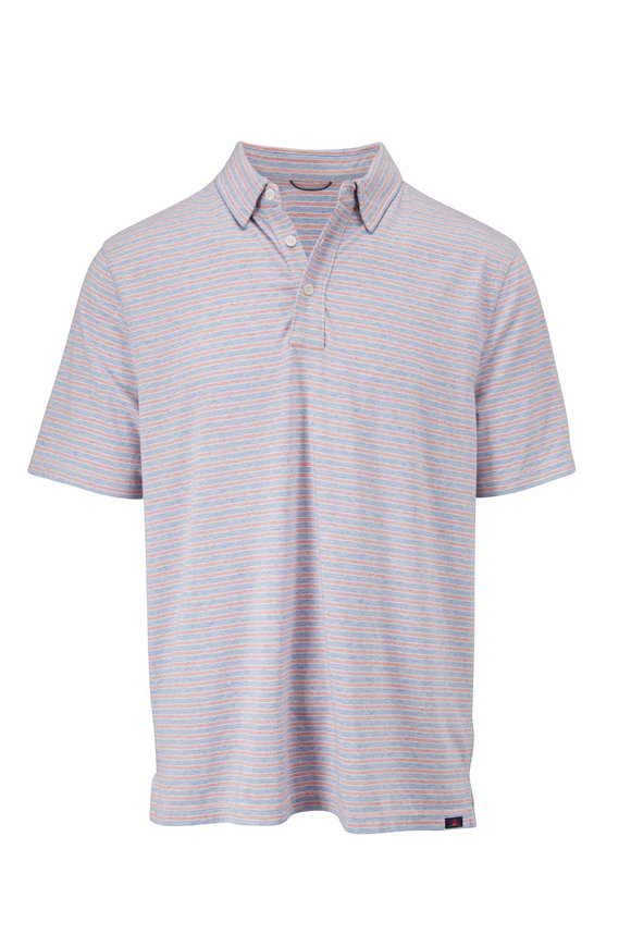 Faherty Brand Movement Red & Blue Stripe Short Sleeve Polo