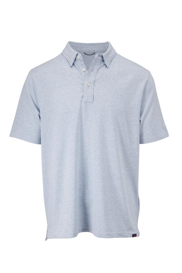 Faherty Brand Movement Heather Blue Short Sleeve Polo