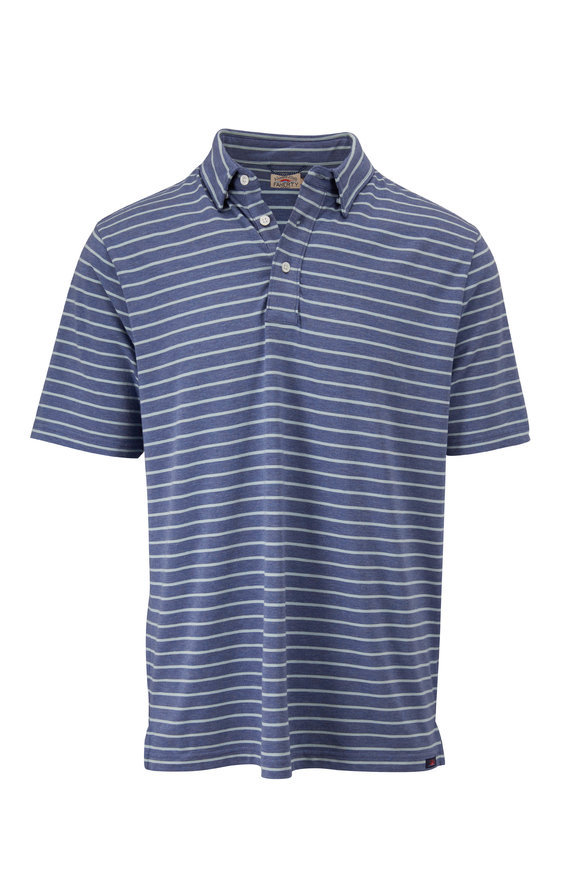 Faherty Brand Movement Blue Stripe Short Sleeve Polo