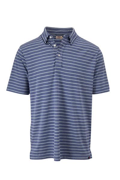 Faherty Brand - Movement Blue Stripe Short Sleeve Polo