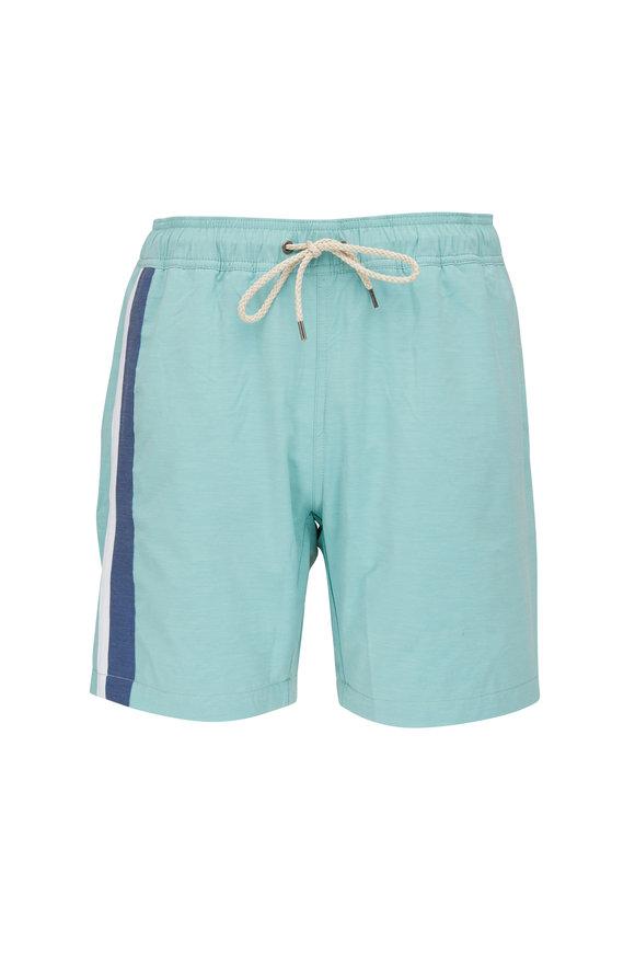 Faherty Brand Beacon Teal Stripe Swim Trunks