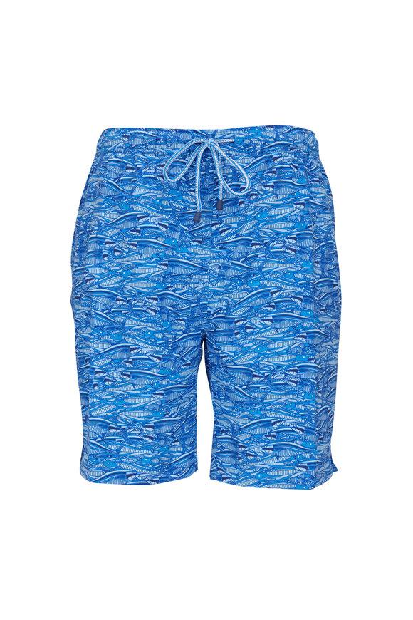 Peter Millar Blue Feeding Frenzy Swim Trunks