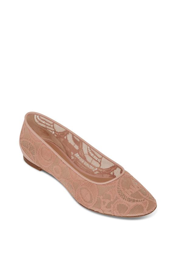 Chloé Pink Tea Lace Ballerina Flat