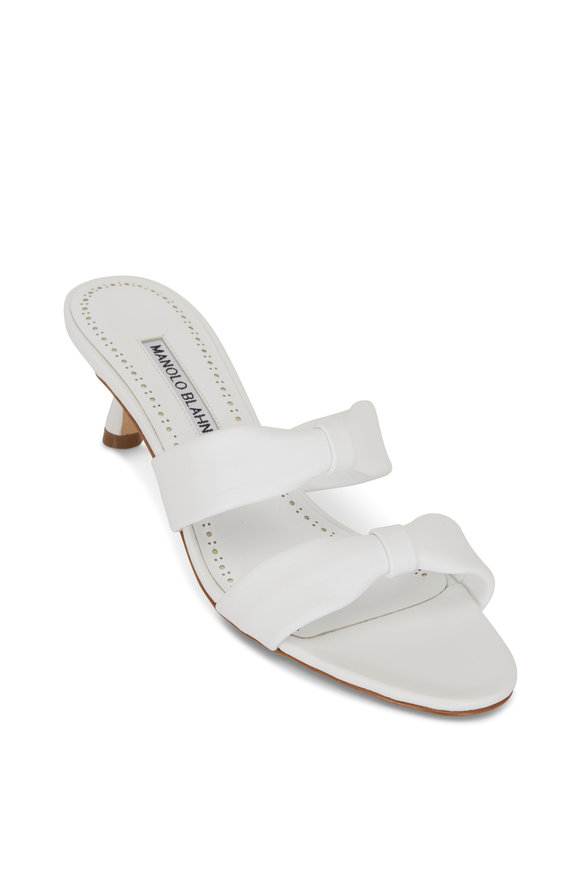 Manolo Blahnik Pallera White Leather Knotted Band Mule, 50mm