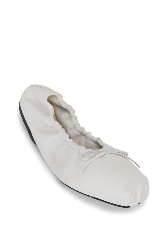 Khaite Ashland White Leather Ballerina Flat