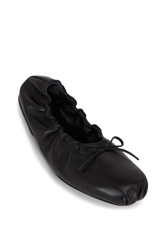 Khaite Ashland Black Leather Ballerina Flat