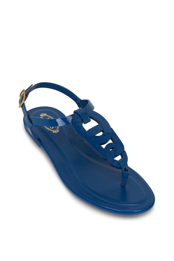 Tod's Kate Blue Patent Thong Sandal