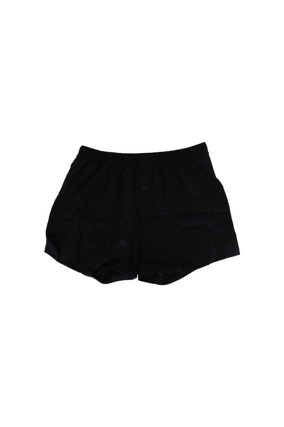 Hanro  Black Cotton Boxer Short