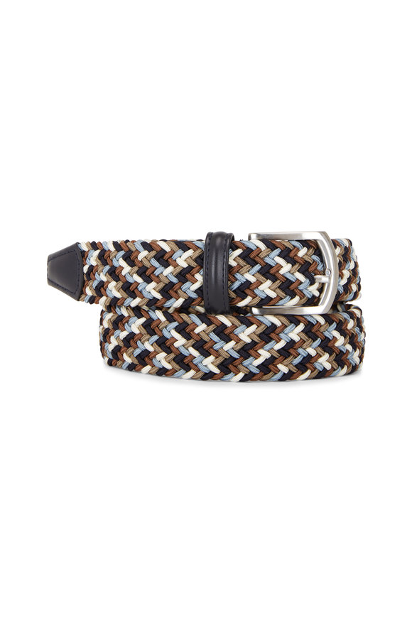 Anderson's Cream, Brown & Navy Woven Belt