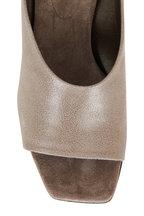Brunello Cucinelli - City Medium Gray Leather Monili Heel Slide, 60mm