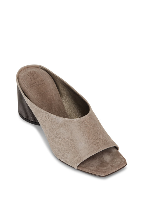Brunello Cucinelli City Medium Gray Leather Monili Heel Slide, 60mm