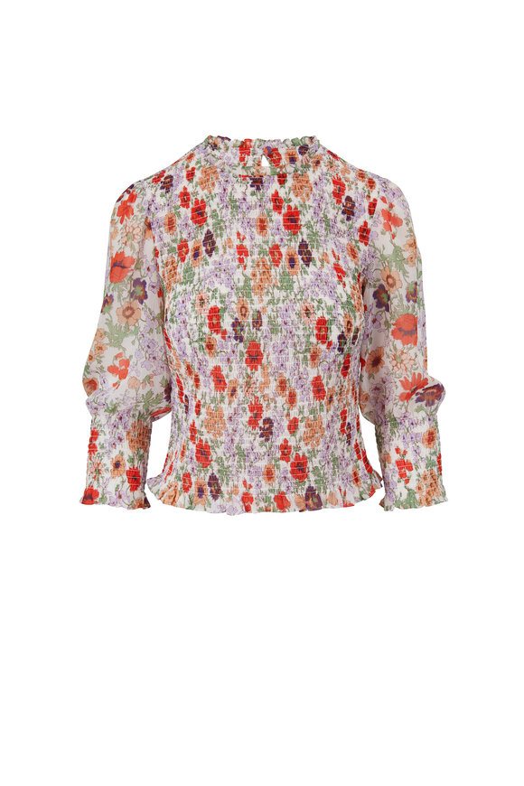 Veronica Beard Kalie Off White Printed Top