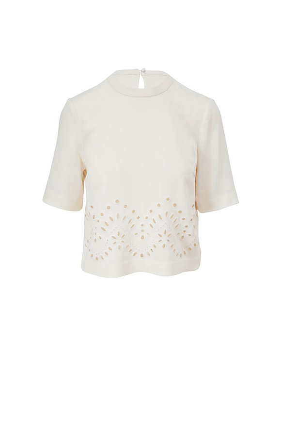 Veronica Beard Gray Off-White Eyelet Detail Top