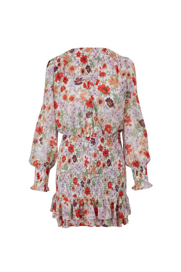 Veronica Beard Saera Off-White Printed Long Sleeve Dress